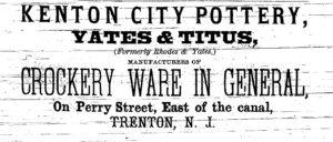 1865 kenton city pottery, yates and titus
