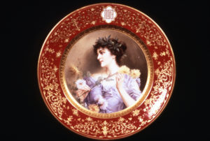 Bruno Geyer, painter, on Ceramic Art Company plate from service made for NJ governor Franklin Murphy, 1904