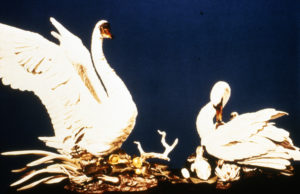Edward Marshall Boehm Studios, Mute Swans, porcelain, made as state gift from Pres Nixon to People's Republic of China, H 42 in, 1972. Two years and 14 artisans to produce.