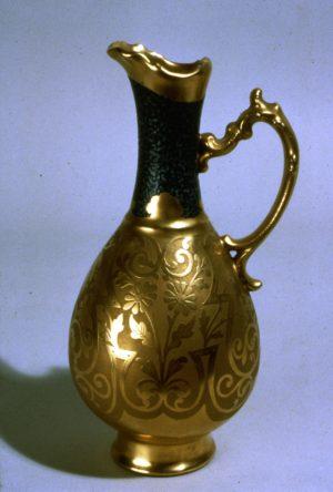 Ewer, porcelain, unknown maker, decorated by Jesse Dean, ca. 1900, NJSM 80.36