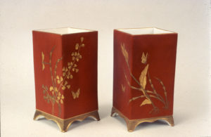 Greenwood Pottery, pair of vases with red ground, porcelain, NJSM 79.1.20 ab