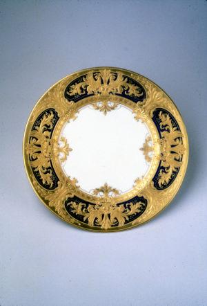 Lenox China service plate, Frank Holmes designer, Robert Pfahl pastework, for Fifth American Industrial Art Exhibition at Metropolitan Museum of Art, 1920
