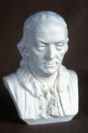 Ott & Brewer, Etruria Works, Bust of Benjamin Franklin, parian, Isaac Broome, designer and modeller, 1876, H 10 in, NJSM 354.29