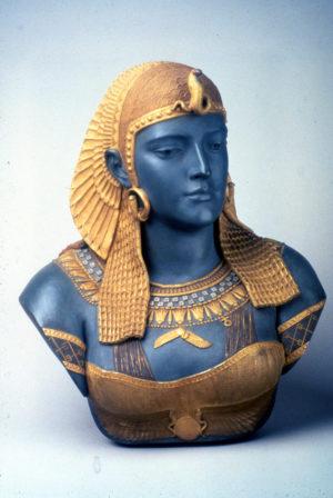 Ott & Brewer, Etruria Works, Bust of Cleopatra, parian, Isaac Broome, designer and modeller, 1876, H 21 in, NJSM 354.24
