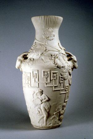 Ott & Brewer, Etruria Works, Pastoral Vase, parian, Isaac Broome designer and modeller, 1875