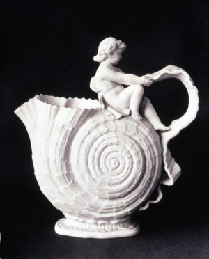 Willets Mfg Co, Cupid Jug, parian, Walter Scott Lenox designer, William Bromley modeller, 1887, H 9 in (historic photo)